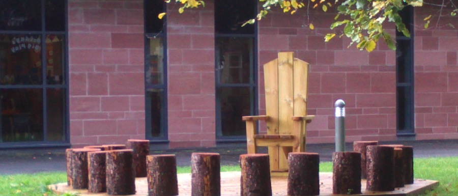 story telling chair and log seats
