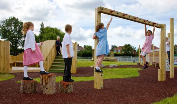 children using adventure playground equipment
