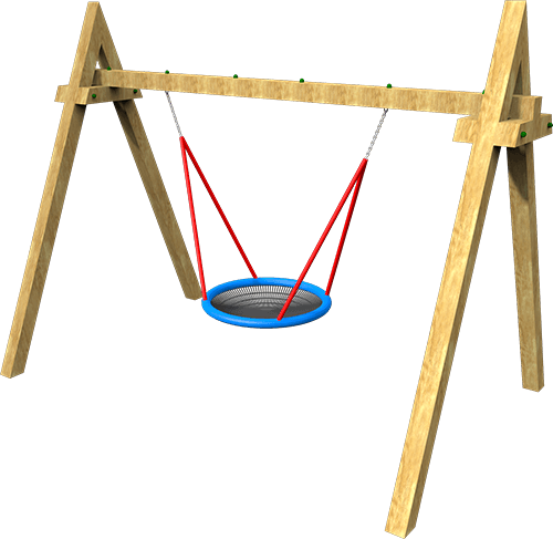 Timber framed playground basket swing