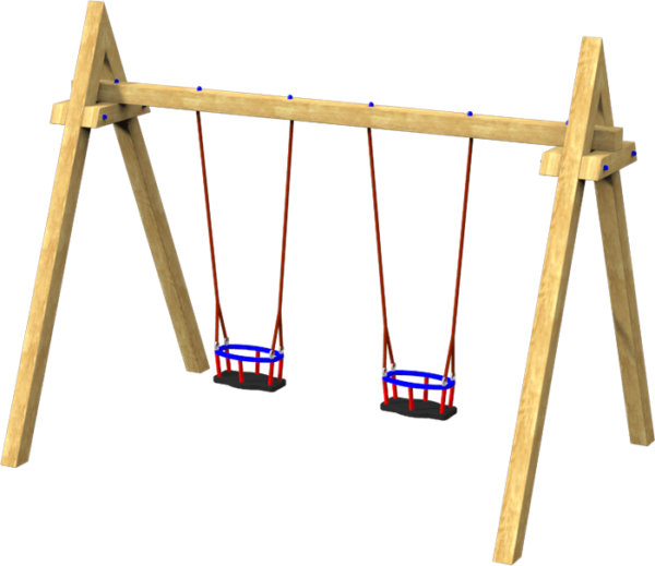 double infant playground swings on timber frame