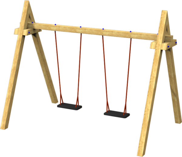 double junior playground swings on timber frame