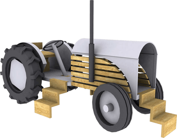 Fergie - a wood and metal play tractor for a children's playground
