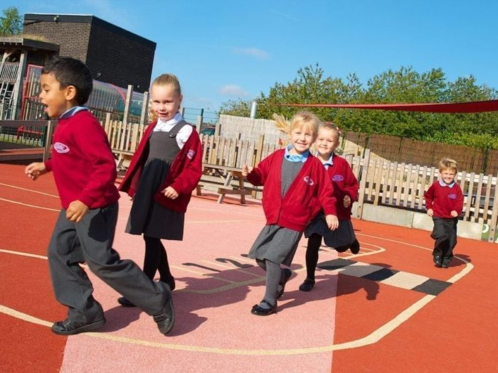 children using their school's daily mile