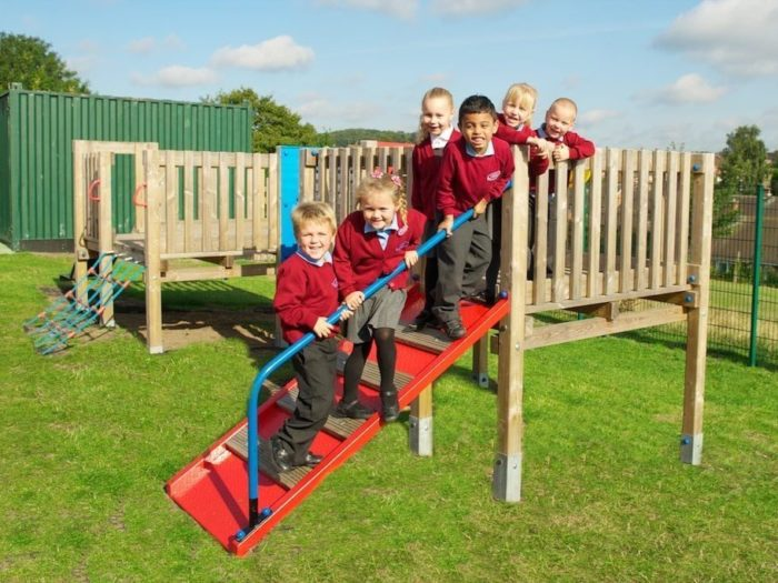 children on Glade Hill Primary School's new climbing frame