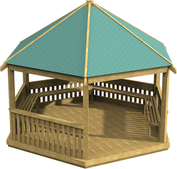 Large hexagonal wooden gazebo perfect as outdoor classrooms for schools