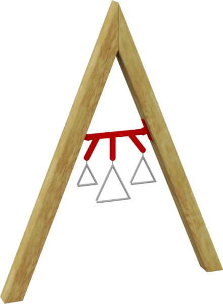 A wooden A-frame with suspended musical triangles