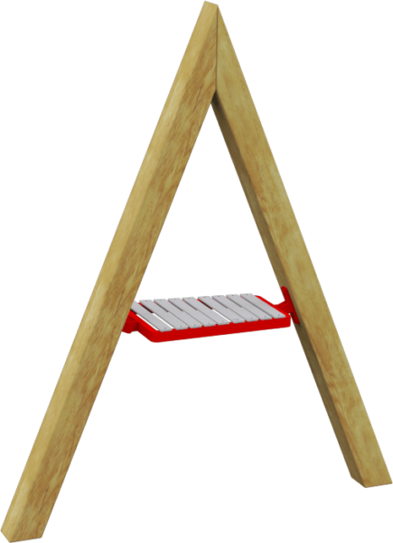 playground xylophone on wooden A-frame