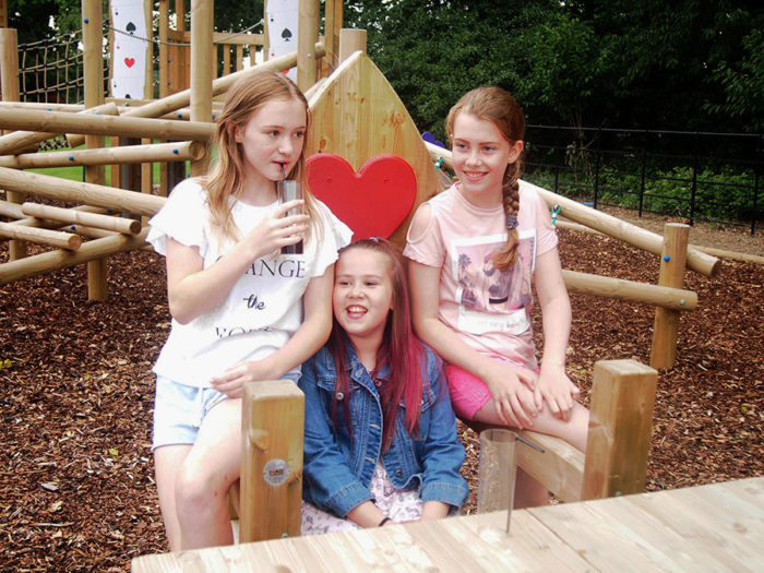 girls enjoying social time on Rockcliffe Hall Hotel's playground