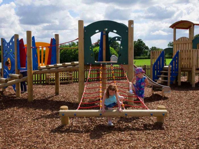 scatterlog and climbing playground equipment at Allerthorpe Lakeland Park