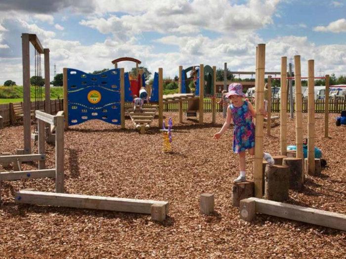 natural playground equipment on Allerthorpe Lakeland Park