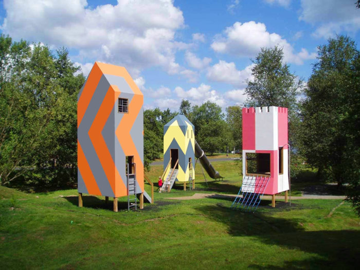 park playground equipment towers at Kielder Water And Forest Park