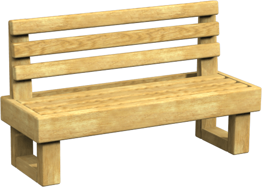 wooden bench with back rest