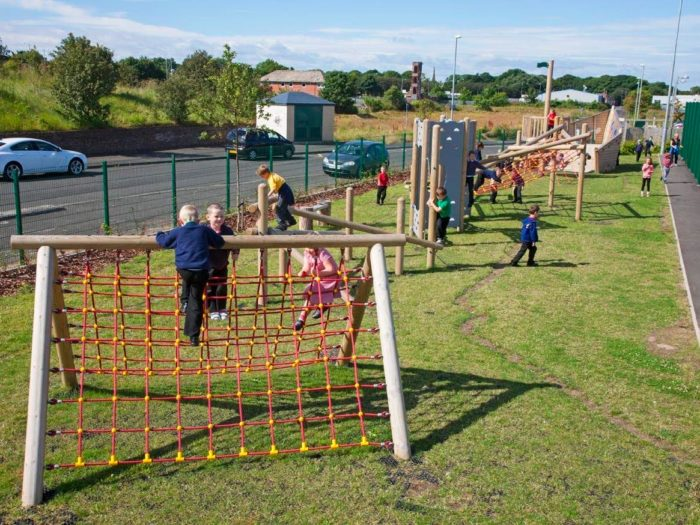 climbing frame and adventure trail at Morpeth Road Primary School