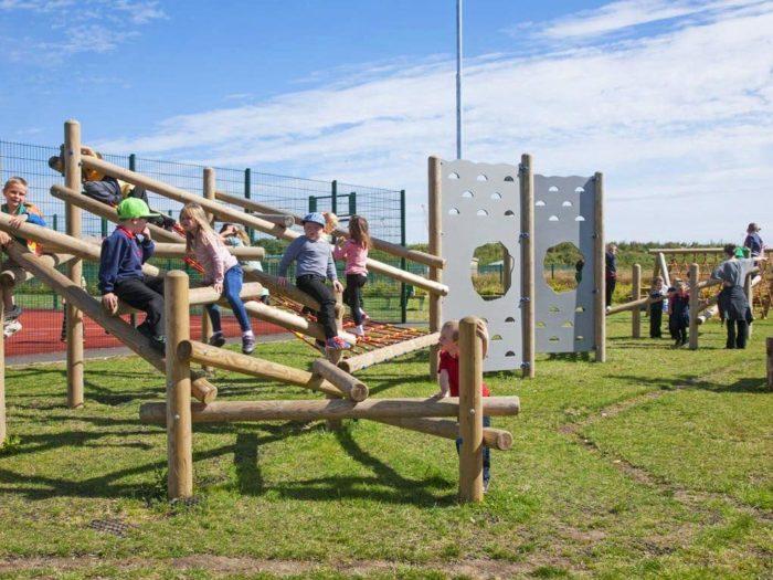 climbing playground equipment and adventure trail