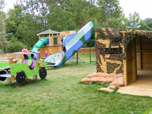 Croome Park playground design with bunker, slide and army springer
