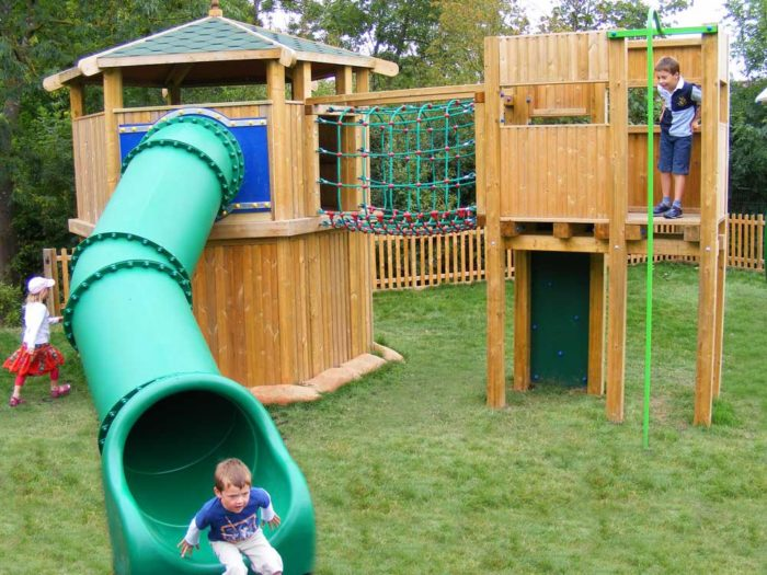 slide and climbing system at Croome Park playground