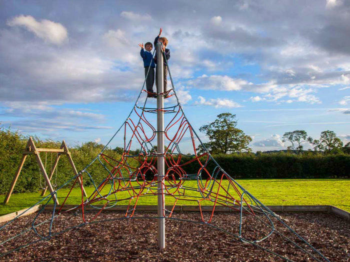 climbing frame on a village playground