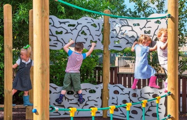 primary school children enjoying shared risky outdoor play