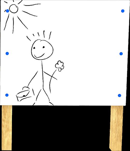 playground whiteboard on posts