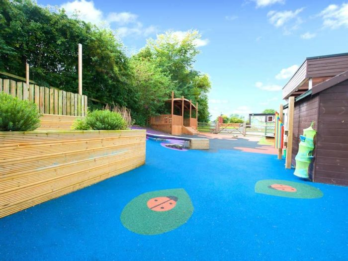 Kirkby Malzeard Primary School playground surface with ladybirds
