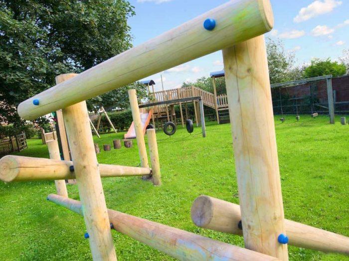 wooden playground climbing equipment