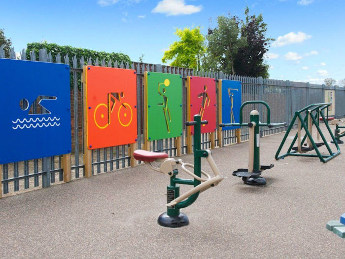outdoor exercise equipment at Suttons Primary School