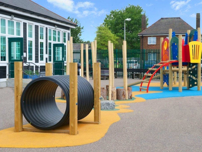 tunnel and climbing frame in Suttons Primary School playground