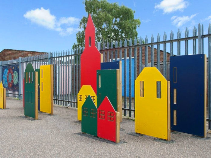 colourful role play village in Suttons Primary School playground