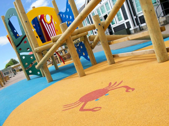 wetpour playground safety surface with crab design