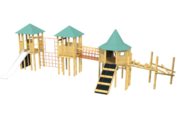 triple jungle climber and playground tower system