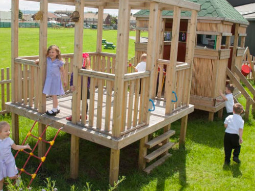 tower system in a small playground space