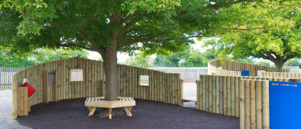 tree bench seating and new playground equipment at Tithe Farm