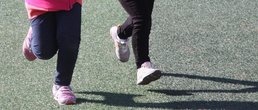 children's feet in movement