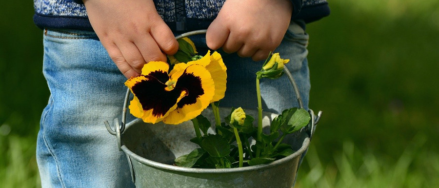 child holding a bucket of flowers in the garden