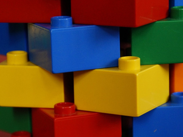 Child's building blocks stacked up
