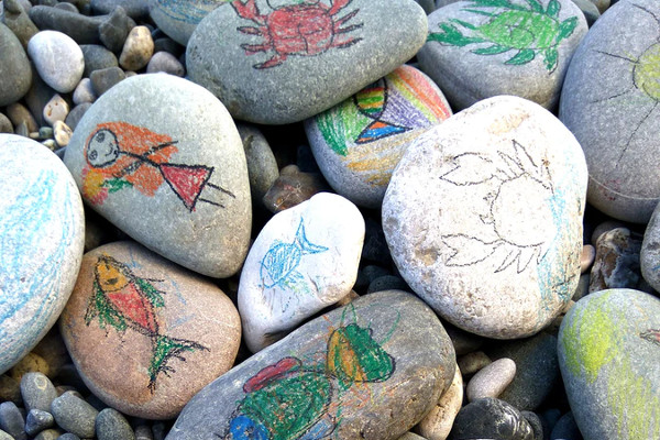 colourful, decorated pebbles