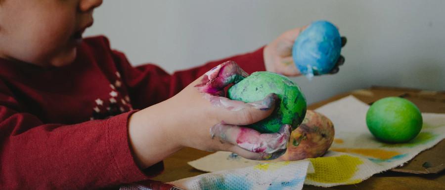 child using home made putty