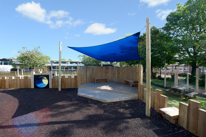 Clean playground stage and canopy