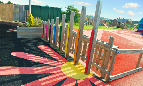 Wetpour flower playground safety surface