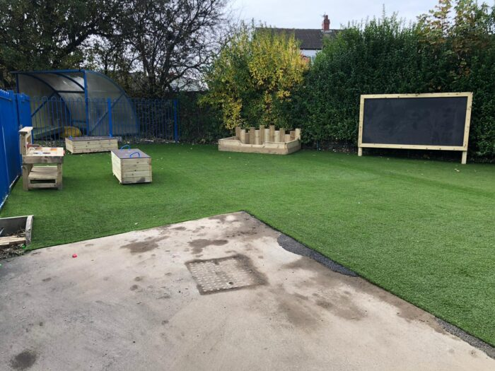 Artificial grass on an inclusive playground
