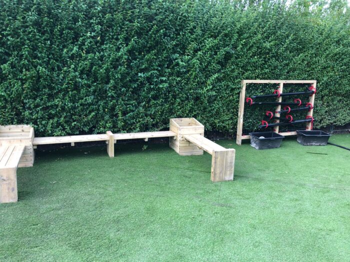 image playgrounds planters on artificial grass